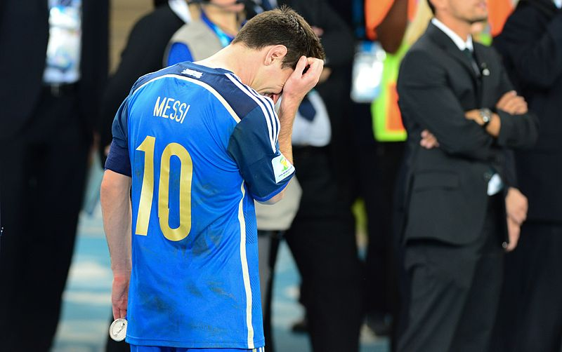 Lionel Messi via https://commons.wikimedia.org/wiki/File:Lionel_Messi_in_tears_after_the_final.jpg